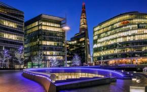 btiment, gratte-ciel, Londres, Angleterre, arbres, clairage, Royaume-Uni, restaurant, soire, Ville, lumires