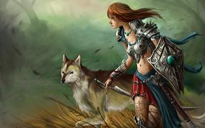 erba, vento, Arte, tatuaggio, ragazza, scudo, spada, modelli, lupo