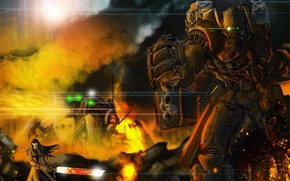 меч, робот, оружие, арт, огонь, дуло, металл, пушка, мужчина