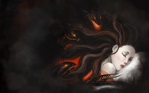 кошмары, темно, подушка, монстры, сон, арт, девушка, змеи
