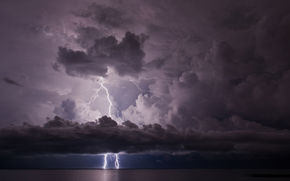 sea, storm, Lightning