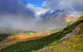 the mist is rising - wilcox pass, columbia icefields, alberta, canada