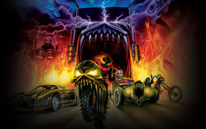 gamma ray, bike, motorcycle, teeth, jaws, fire
