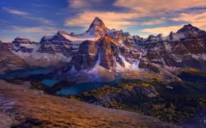 sunset on the peaks of assiniboine - mt assiniboine provincial park, bc, canada