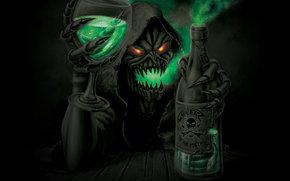 de rayos gamma, pocin, copa, capucha, botella, ojos, monstruo
