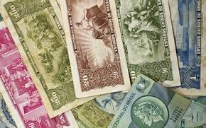 notas, dinero viejo, papel