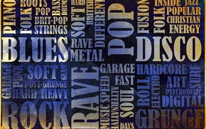 gneros, roca, raves, Cosecha, grunge, Folk, Msica, blues