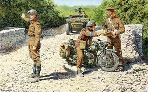soldati, militare, motocicli, Seconda Guerra Mondiale, motocicletta, fortino, Britannico