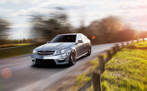 мерседес, Mercedes, в движении, седан