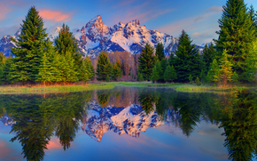 mirrored reflections of the grand tetons - schwabacher landing, grand teton national park, wy