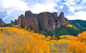 Castle Rock, cada de otoo los bosques, Colorado