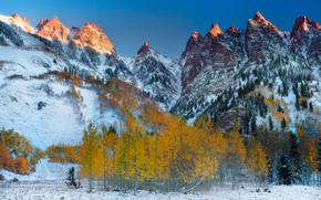first light on the peaks - maroon bells area, aspen, colorado