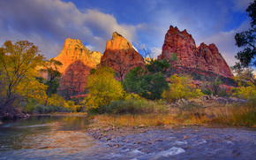 premire lumire sur les sommets - trois patriarches, Virgin River, Parc national de Zion, Utah