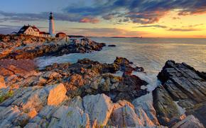 portland head lighthouse sunrise, portland head, maine
