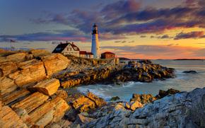sunrise in maine, portland head lighthouse, maine