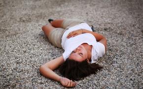 white jacket, is, girl, background, Mood, asphalt, wallpaper, brunette