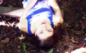 eyes, view, wallpaper, nature, plant, girl, leaves, Mood, leaflets, background, is, blue dress