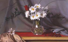 цветы, ягоды, шелк, арт, ваза, ткань, картина, стол, натюрморт, ромашки, роза, хрусталь