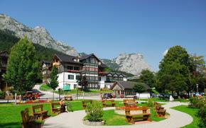paisaje, bancos, Austria, Estiria, casa, Montaas, ciudad, cielo, Grundlsee, verano