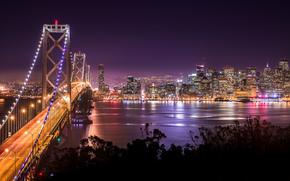 notte, Stati Uniti d'America, Ponte da San Francisco a Auckland, San Francisco, California, estratto, citt