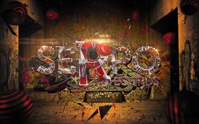 headphones, graffiti, text