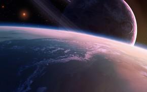 satlite, espao, planeta, Estrela, Arte, Anel