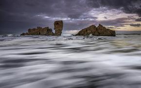 風景, 海, 岩