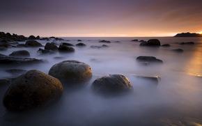 mar, pedras, pr do sol