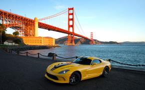 Esquivar, 2013 Viper SRT, Puente Golden Gate, puente, mquina, carretilla, amarillo,