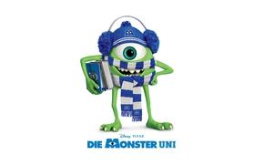Monsters university, Mike Wazowski, Scarf, Cap, Books, Disney, Pixar