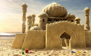замок, мечты, песок