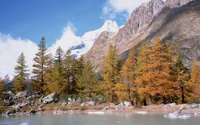 montagne, rivière, alaska