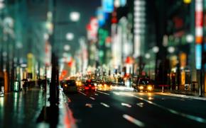 pioggia, strada, città, macchinario