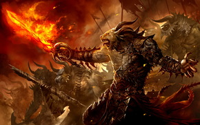 spada di fuoco, esercito, Demoni, guerriero