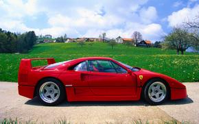 vermelho, Carro, Vista lateral, Ferrari, céu, Nuvens, máquina, verão, Roda, carro esporte