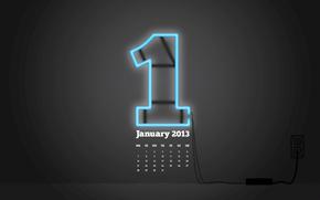 розетка, календарь, неон, цифра, январь, один