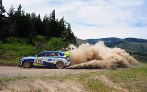 Subaru, Esporte, Corrida, Carro, floresta, Derrapar, poeira, Subaru, Hills, máquina, Dia, transformar