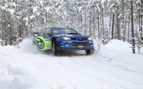 Спорт, Машина, Передок, Лес, Subaru, Авто, Белый, Синий, Фары, Гонка, Зима, Снег, День