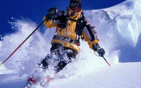 снег, лыжи, мужчина