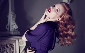 локоны, актриса, Джессика Честейн, девушка, фиолетовое, рыжая, платье
