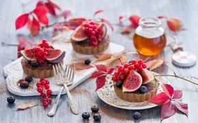 выпечка, инжир, ягоды, сладкое, пирожное, десерт, черника, фрукты, смородина, еда, мед