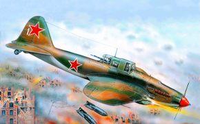 созданный, самолет, в, прозвище, ВОВ, истории, С.В.Ильюшина, самый, ВВС СССР, массовый, руководством, штурмовик, боевой, времен, советский, под, арт, летающий танк