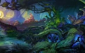 чаща, фантастический мир, деревья, ручей, пейзаж, растения, арт, корни