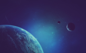 корабли, арт. космос, след, планета, звезды, спутники