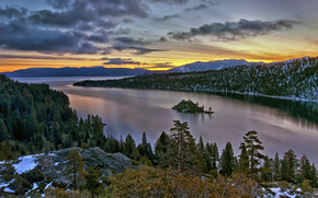 coucher du soleil, conifères, Rocks, nuages, arbres, forêt, rivière, neige