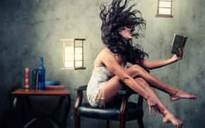 pelo, chica, habitación, Libros, silla, luces