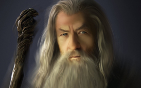 magician, Art, Gray, staff, old man, lord of the rings, beard, Gandalf