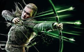 стрелы, леголас, темный фон, лук, властелин колец, эльф