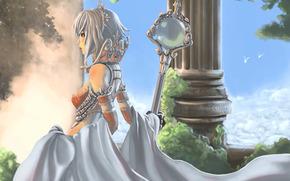 cielo, columna, palacio, chica, vestir, Arte, nubes, personal