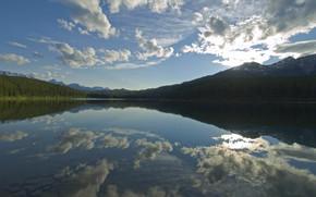 lac, ciel, rivière, nuages, réflexion, eau, Montagnes